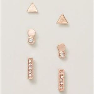Ann Taylor LOFT Mixed Stud Earring Set of 3 ROSEGO